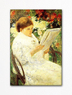 Woman Reading in a Garden Mary Cassatt Fridge Magnet