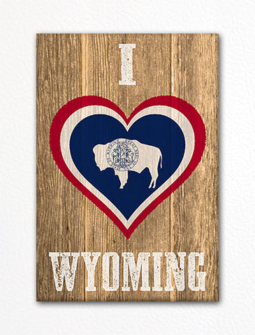 I Love Wyoming Flag Heart Fridge Magnet
