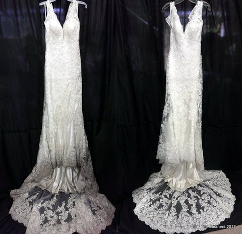 Sunshine Cleaners before and after picture of soiled wedding gown hem