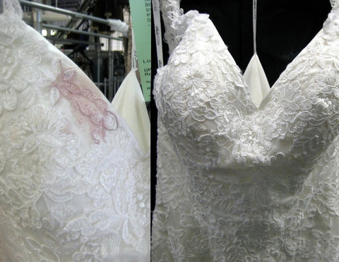 Wedding gown wine stain removal