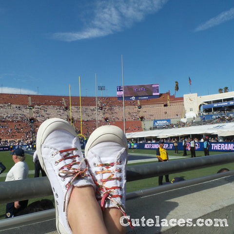 Cute Shoe Laces at a Football Game