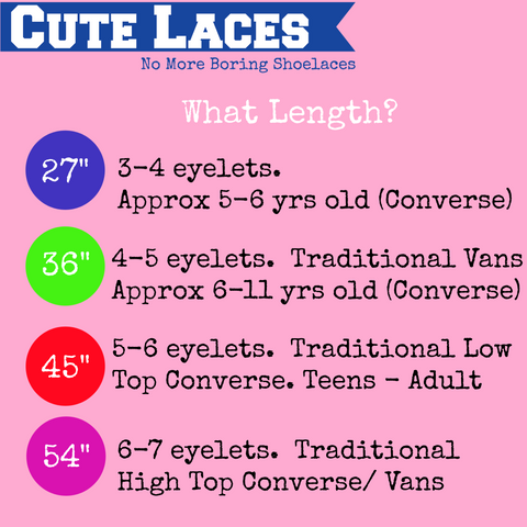 shoelace length chart for Vans and Converse