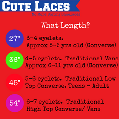 55f208bdbcfc Can t decide what length to buy  Best to measure your existing laces. Check  out our length recommendation chart. Here are some shoelace length ...