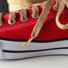 Metal Tips - Aglets - on Gold Shoelaces