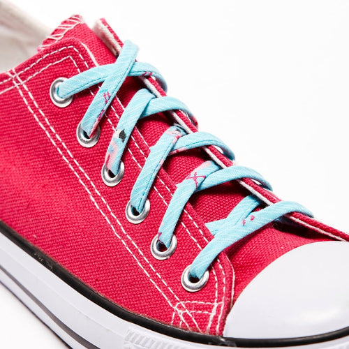 Shoelaces - Pink Flamingo. Shoestrings Covered in Flamingo Patterns on Aqua Background