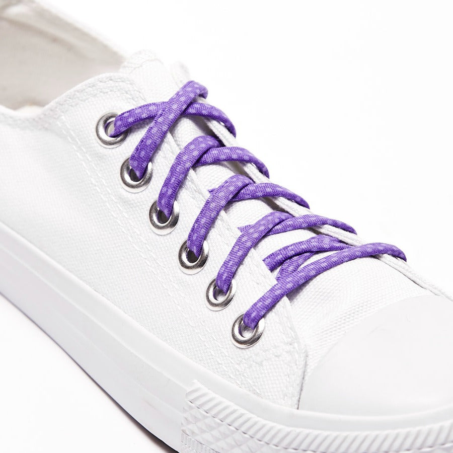 Purple polka dot shoe laces shoelaces gift converse chucks