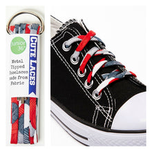 red and grey pattern on shoe laces with knit yarn