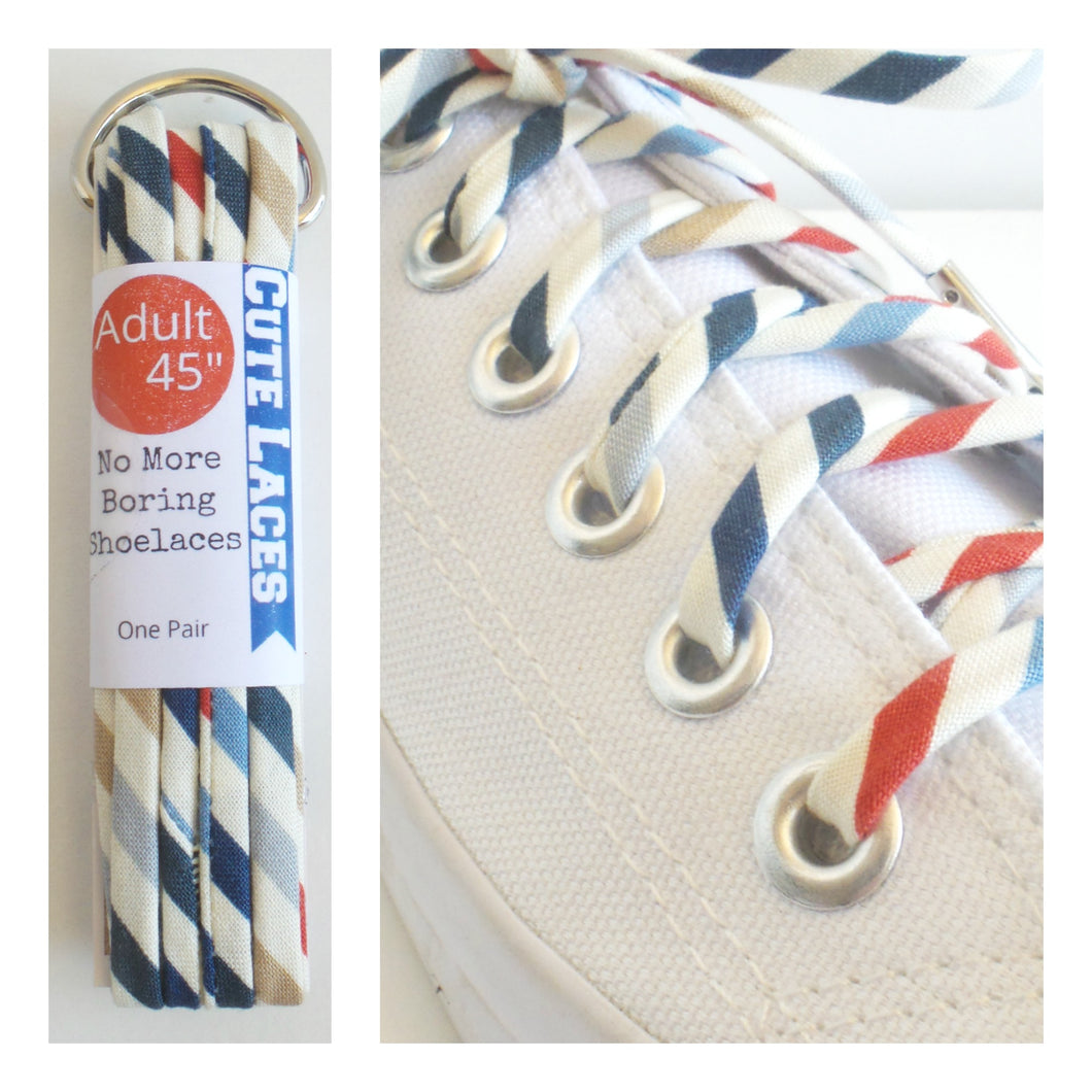 Navy Red & Tan Striped Shoelaces