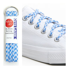 Blue Checker Shoelaces with Metal Tips