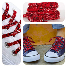 Red Bandana Shoelaces - Shoestrings with Red Bandanna Pattern Matching Dog Bandana