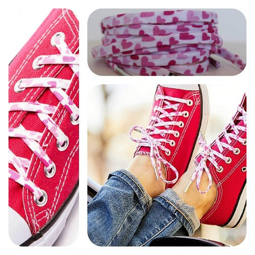 Hearts Shoelaces - Shoestrings Covered in Pink Heart Shapes