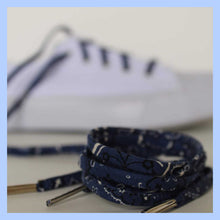 Blue Bandana Shoelaces with Metal Tips - Shoestrings for High Tops and Low Tops