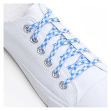 blue checker shoelaces funky