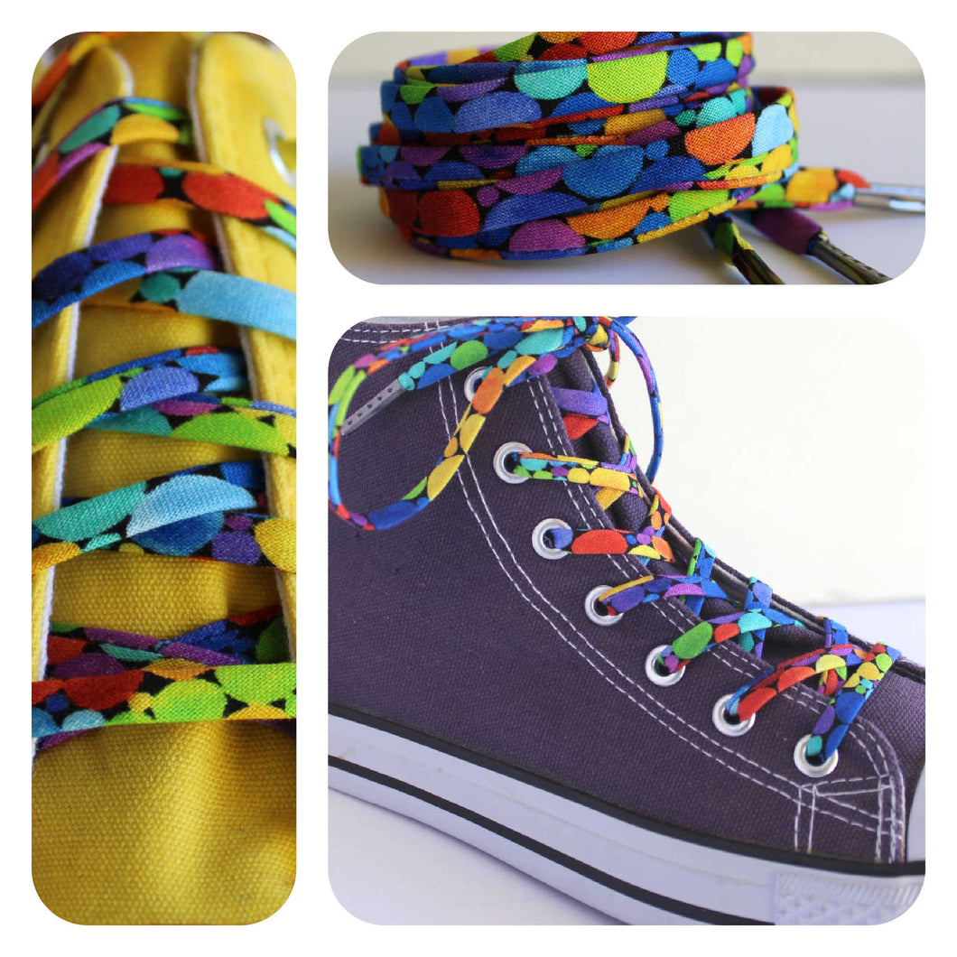 Bright Rainbow Dots Shoelaces