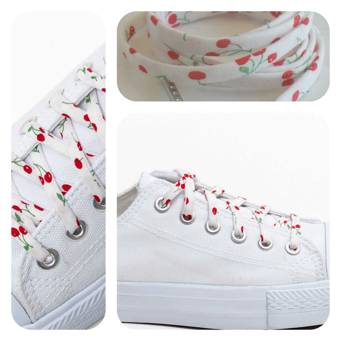 Shoelaces - Tiny Cherries - Shoestrings Covered in Small Fruit Pattern