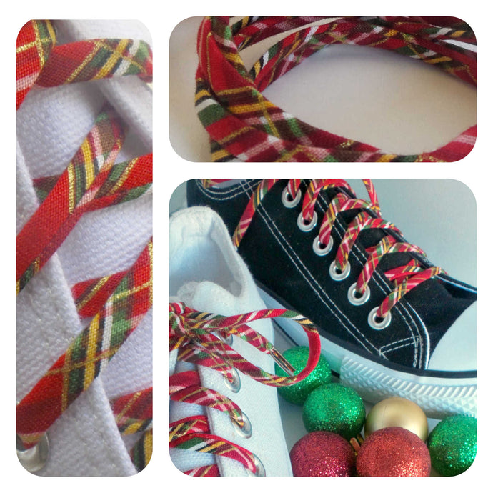 Red Plaid Shoelaces - Red Gold Tartan Shoe Laces - Holiday Shoestrings
