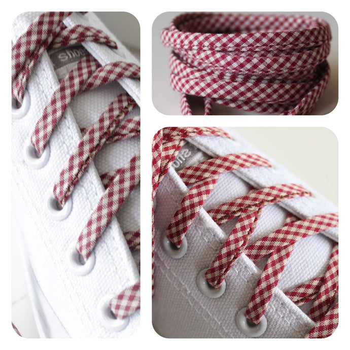 Red and Off White Checkered Gingham Shoelaces