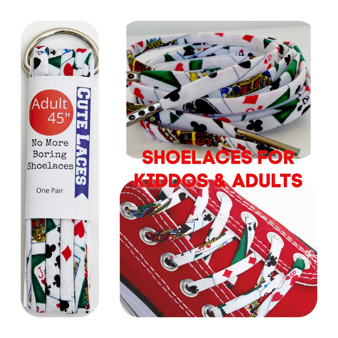 Playing Cards Shoelaces - Shoestrings with Hearts Diamonds Spades and Clubs