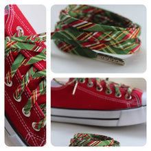 Green Plaid Shoelaces - Green & Gold Tartan Shoe Laces - Holiday Shoestrings