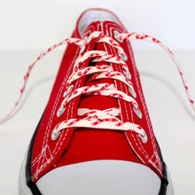 Holiday Shoelaces. Tiny Christmas Candy Cane Shoestrings. Festive Fashion