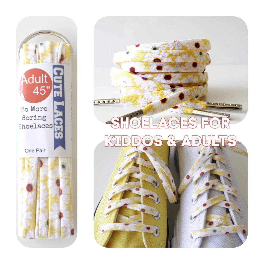 Shoelaces - White Flowers on Yellow Background Floral love!