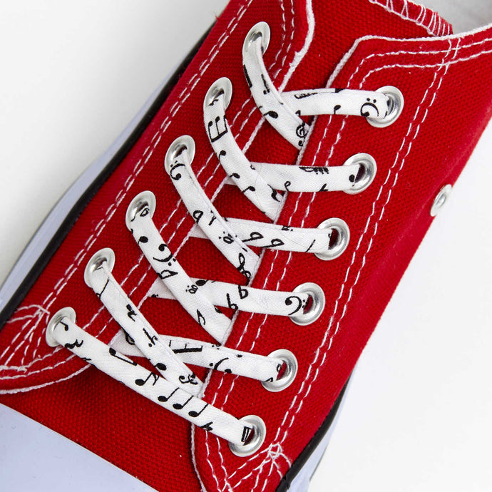 New Music Notes Shoelaces - Shoestrings covered in Musical Score