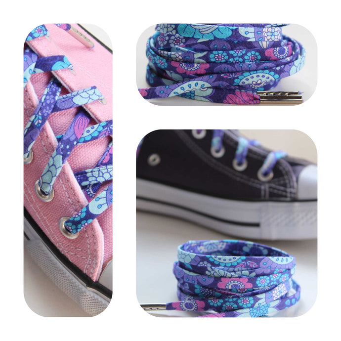 Purple and Blue Boho Chic Shoelaces