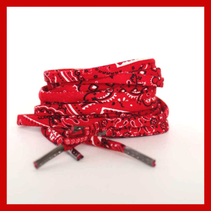 Red Bandana Shoelaces - Shoestrings with Red Bandanna Pattern
