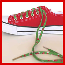 Holiday Shoelaces. Tiny Christmas Stocking Shoestrings. Festive Fashion