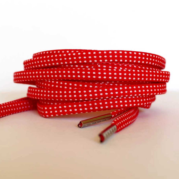 Red Shoelaces - Tiny White Polka Dots - Fun Shoe Stings