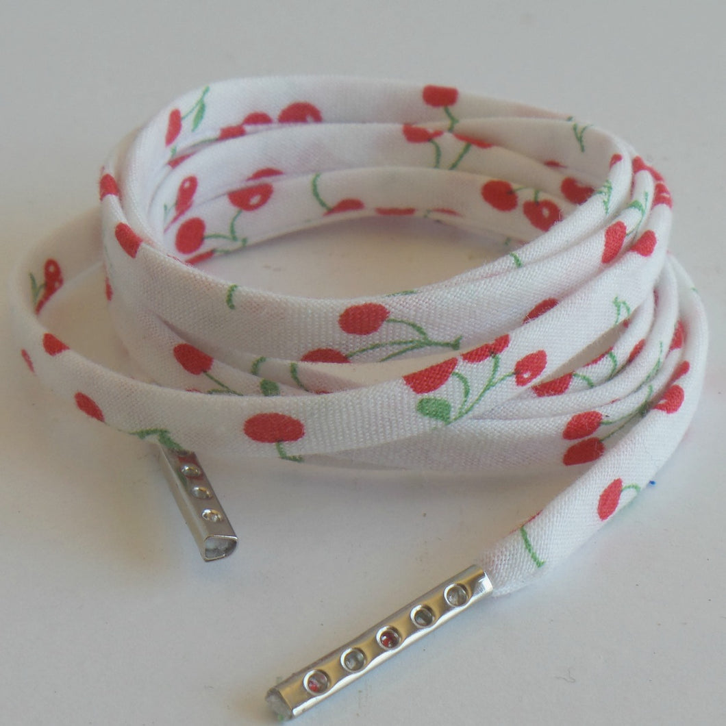 Metal tipped flat shoelaces-cherry-design-shoe-laces