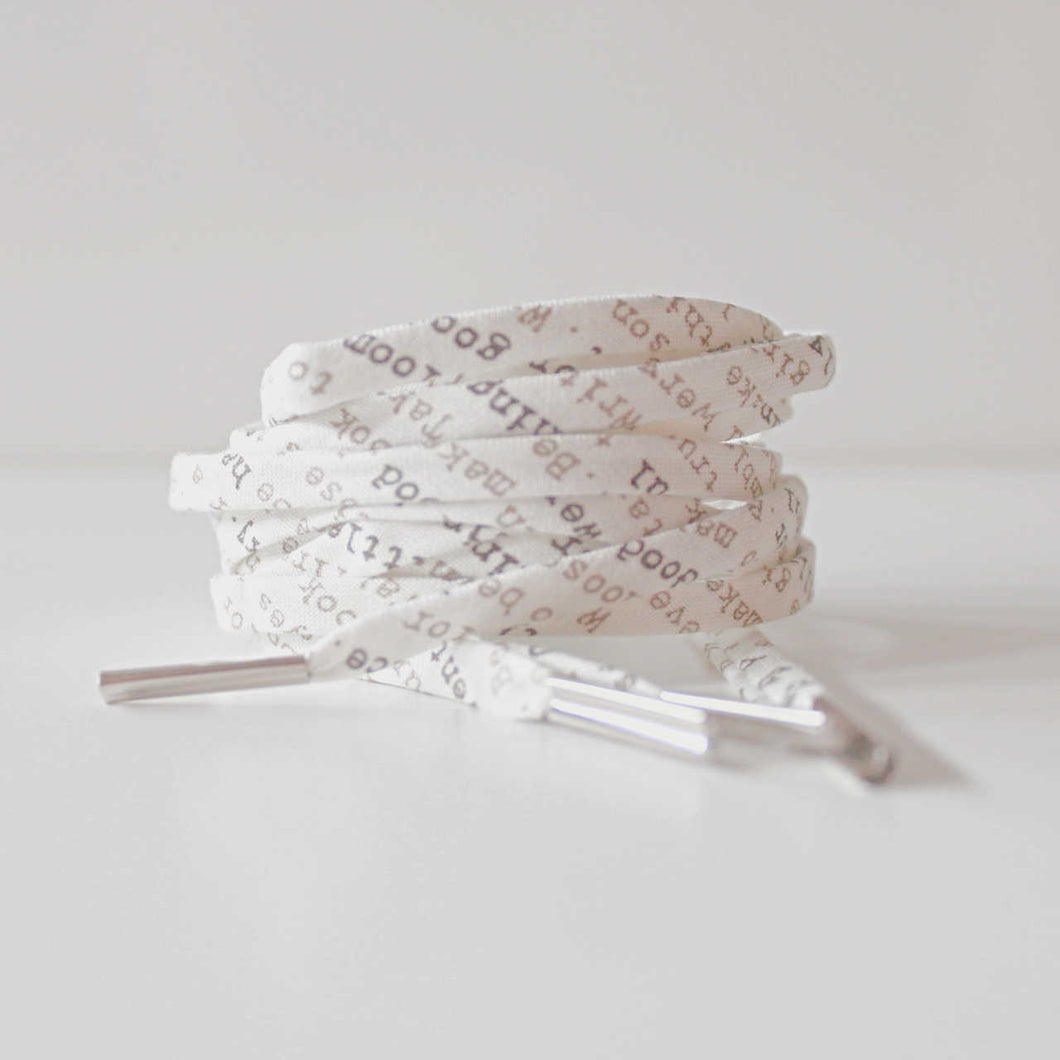Shoelaces Covered in Typeface Words and Letters- Perfect Gift for a Writer, Book Worm and Blogger