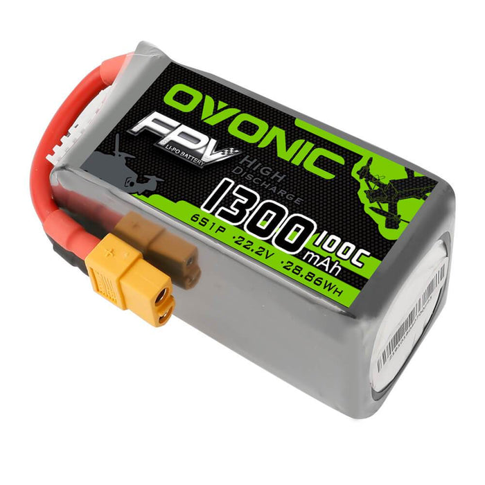 OVONIC 22.2V 100C 6S 1300mAh LiPo Battery Pack With XT60-DRP-Ovonic
