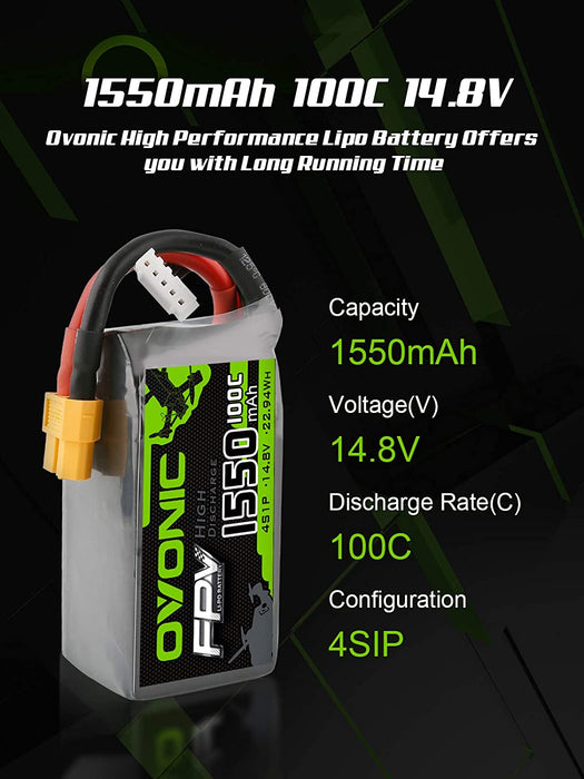 Ovonic 14.8V 1550mAh 4S 80C LiPo Battery Pack With XT60 - DRP
