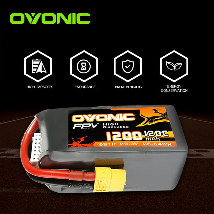 Ovonic 120C 22.2V 6S 1200mAh LiPo Battery With XT60 Plug For FPV Racing - DRP