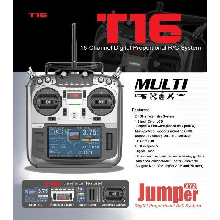 Jumper T16 Open Source Multi-protocol Radio RC Transmitter - JumperTX - DroneRacingParts.com