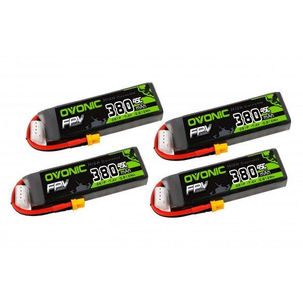 Ovonic 380mah 2S1p 7.4V 45C Lipo Battery 4 Pack With XT30 - DRP