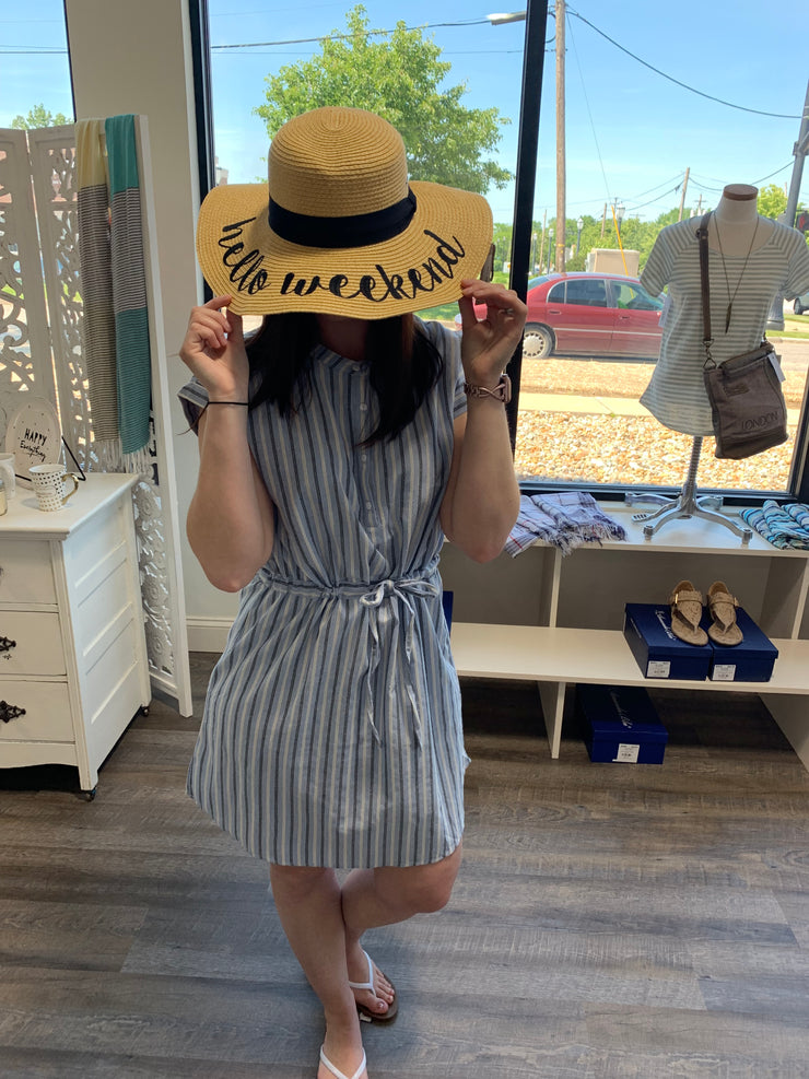 Blue Striped Tie Waist Dress