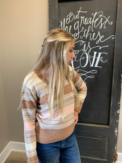 Brown Pink Color Mix Sweater