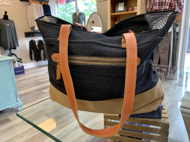 Dark Denim Buckle Tote