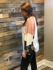Vintage Flower Color Block Top