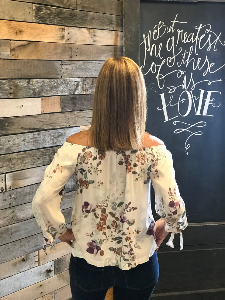 Floral Tie Off Shoulder Top