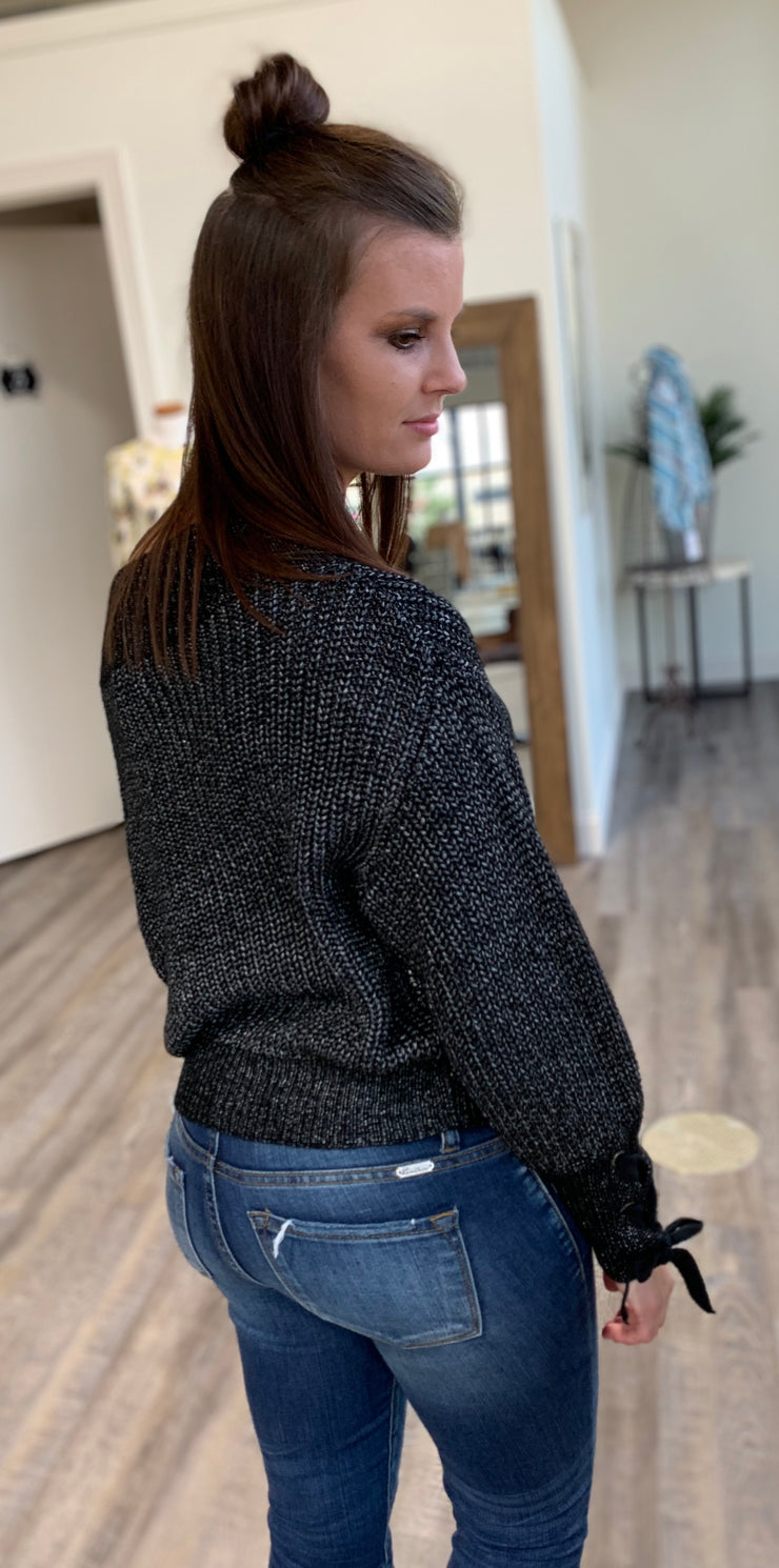 Black Knitted Off Shoulder Sweater