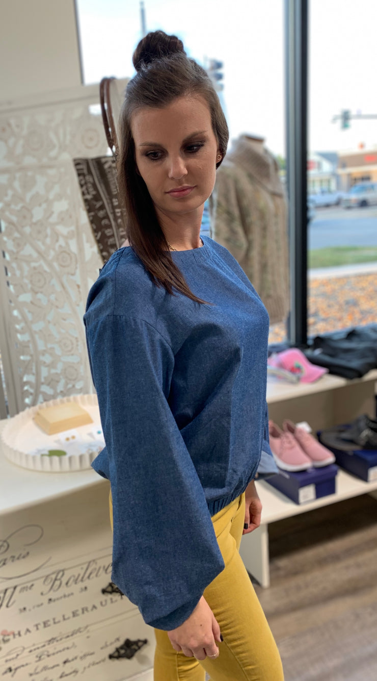 Blue Chambray Rouched