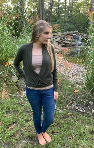 Olive V Neck Gathered Top