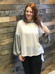 Ivory Grey Balloon Sleeve Top