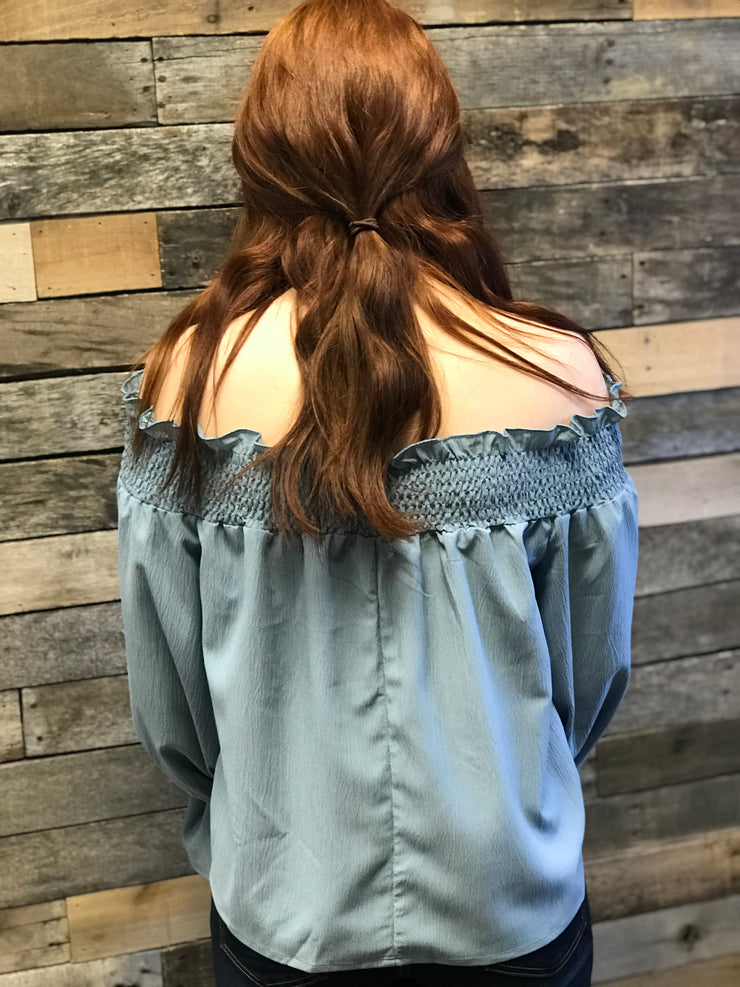 Blue Off Shoulder Blouse