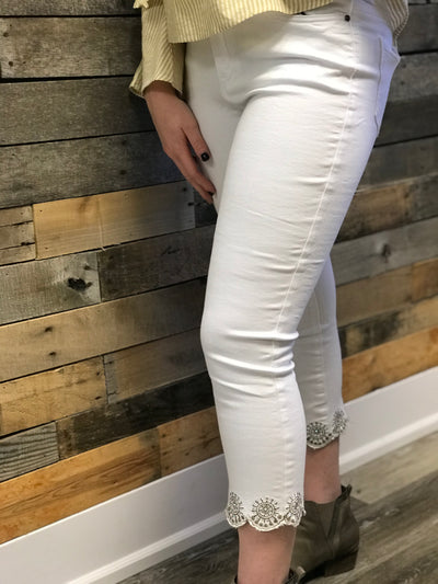 White Scalloped Jeans