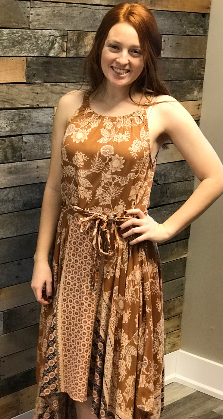 Caramel Hem Printed Dress