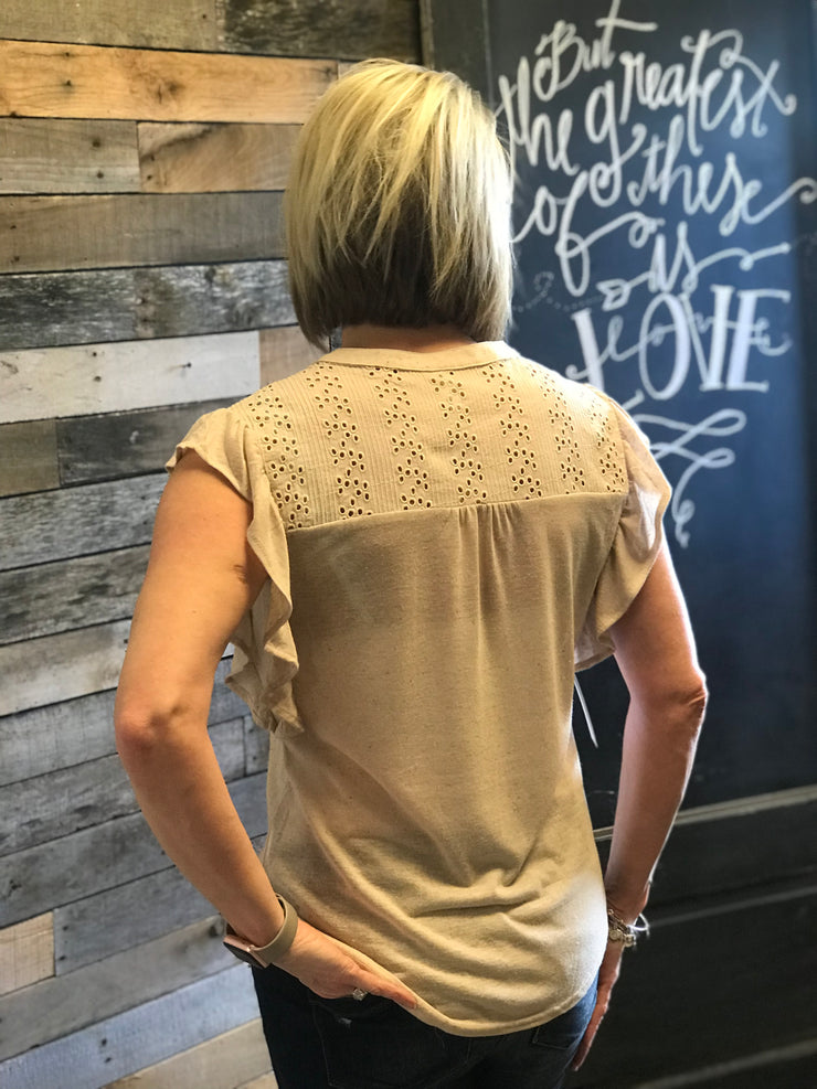 Taupe Ruffled Sleeve Button Top